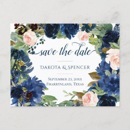 Chic Floral | Romantic Blush Navy Save the Date Announcement