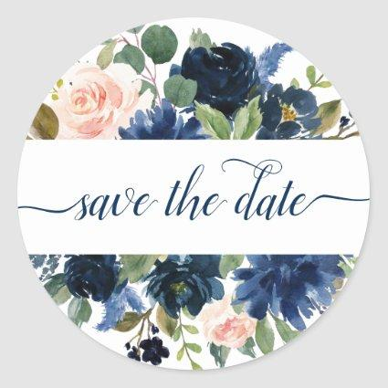 Chic Floral | Romantic Blush Navy Save the Date Classic Round Sticker