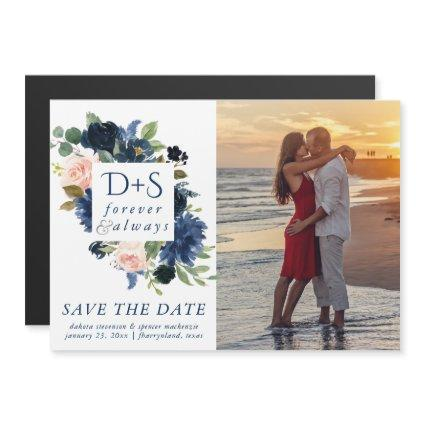 Chic Floral | Romantic Blush Navy Save the Date Magnetic Invitation