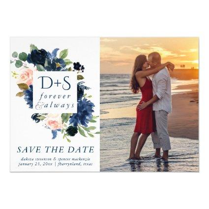 Chic Floral   Romantic Blush Navy Save the Date Magnetic Invitation