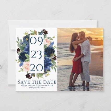 Chic Floral | Romantic Blush Navy Wreath Photo Save The Date