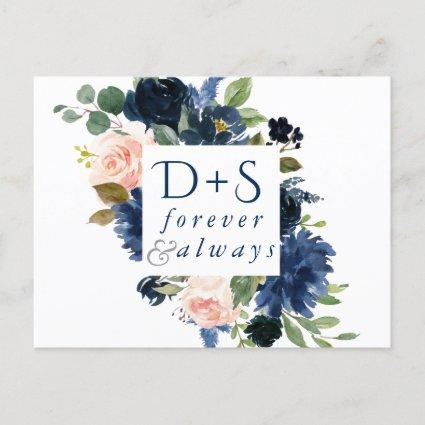 Chic Floral | Romantic Monogram Save the Date Announcement