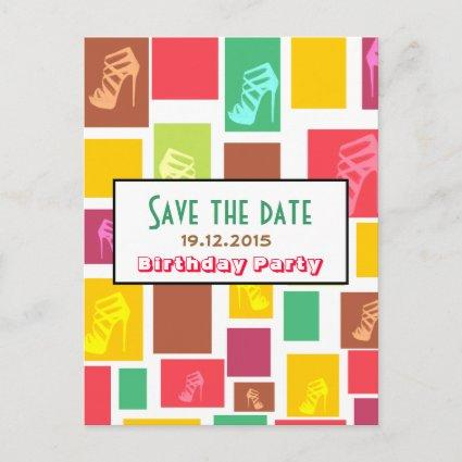 Chic Fun Colorful Birthday Save the Date Cards