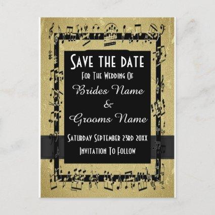 Chic gold and black save the date announcement