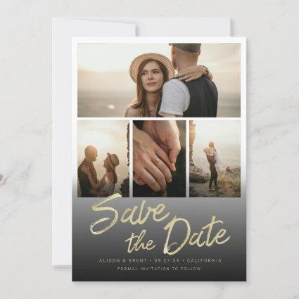 Chic Gold Brush Script Hand Lettering with Photos Save The Date
