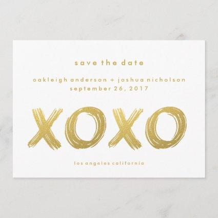Chic Gold Brush Stroke | XOXO Photo Save the Date