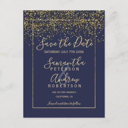 Chic gold confetti navy blue script save the date announcement