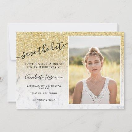 Chic gold glitter marble ombre 3 photos Sweet 16 Save The Date