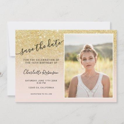 Chic gold glitter pink ombre 3 photos Sweet 16 Save The Date