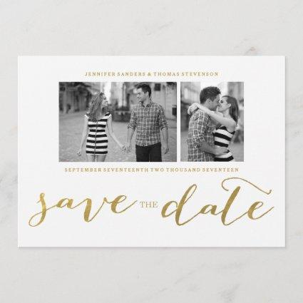 CHIC GOLD HANDWRITTEN | PHOTO SAVE THE DATE