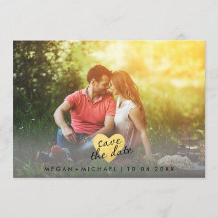 Chic Gold Heart Save the Date Photo Card