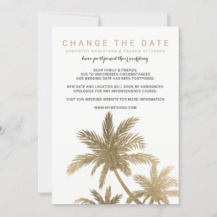 Chic gold palm tree elegant change the date save the date