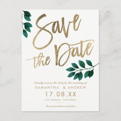 Chic gold script green leaf white save the date announcement