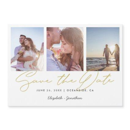 Chic Gold Three Photo Wedding Save the Date Magnet