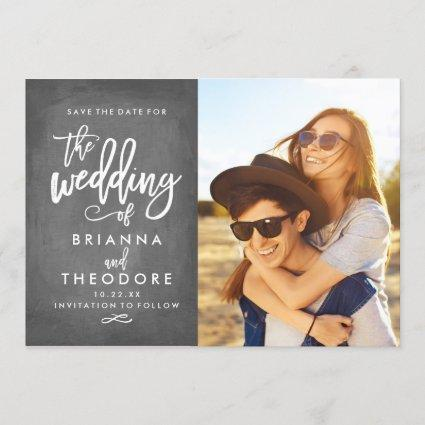 Chic Hand Lettered Chalkboard Save The Date Photo