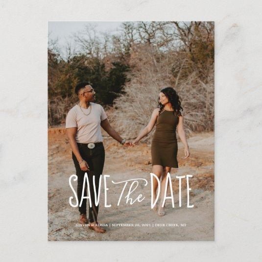 Chic Hand Lettered Save the Date Invitation