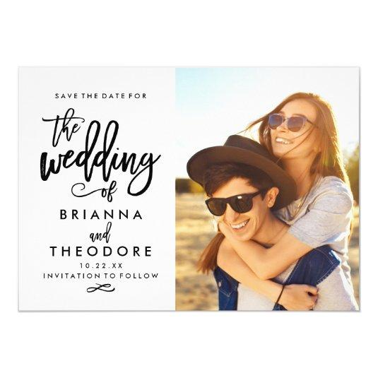 Chic Hand Lettered Save The Date Photo Card