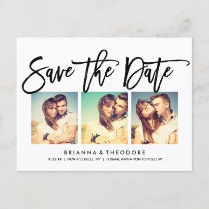 Chic Hand Lettered Save The Date Photo Collage Announcement
