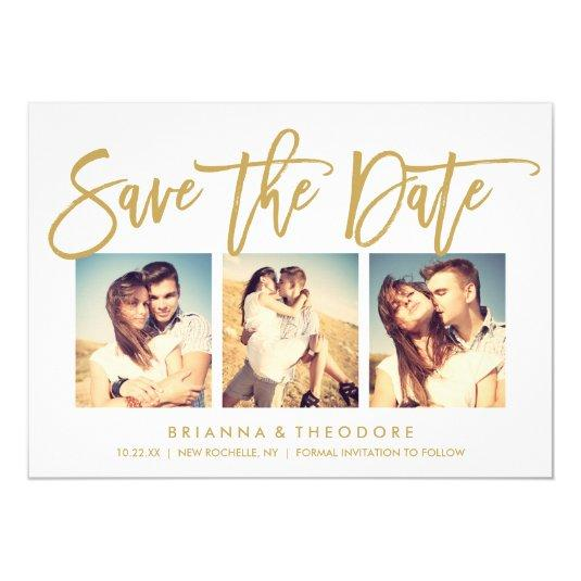 Chic Hand Lettered Save The Date Photo Collage Card