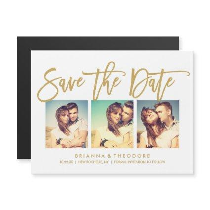 Chic Hand Lettered Save The Date Photo Collage Magnetic Invitation