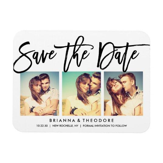 Chic Hand Lettered Save The Date Photo Collage Magnets