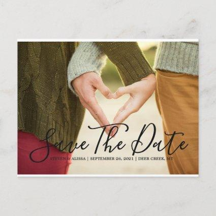 Chic Hand Lettered Script Save the Date Invitation