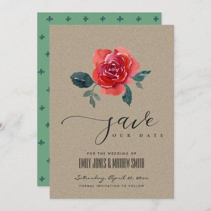 CHIC KRAFT RED GREEN ROSE FLORAL SAVE THE DATE INVITATION