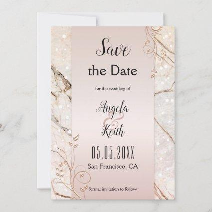 Chic Marble Rose Gold Floral Save the Date Card