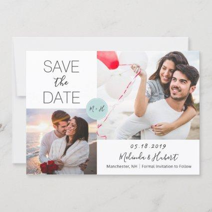 Chic Mint Monogram Wedding Save The Date Photo