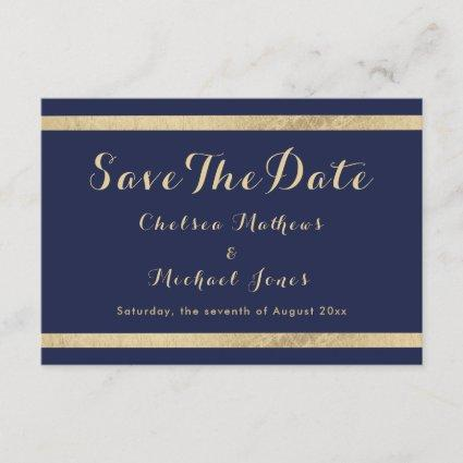 Chic modern navy blue gold luxury Save The Date