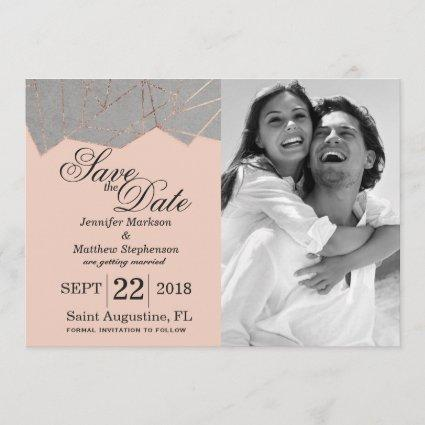 Chic Modern Rose Gold Geo Save the Dates Save The Date
