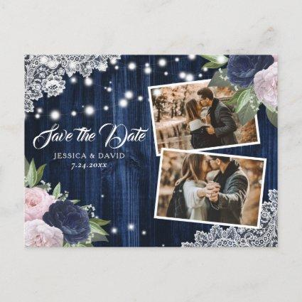 Chic Navy Blue Blush Floral Save The Date Photo Announcement