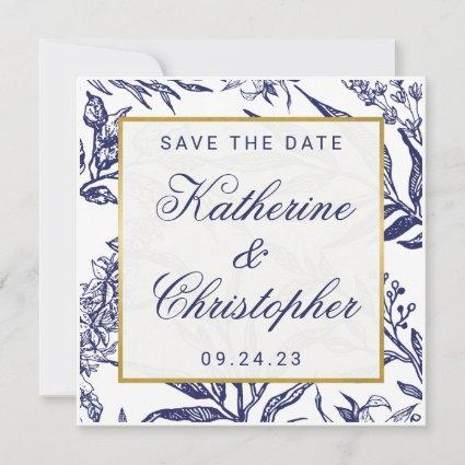 Chic Navy Blue Gold Botanical Save the Date Photo