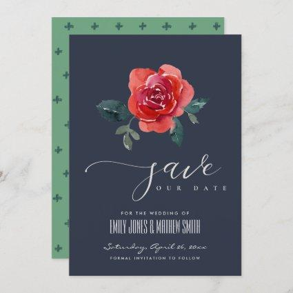 CHIC NAVY RED GREEN ROSE FLORAL SAVE THE DATE INVITATION