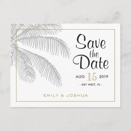 Chic Palm Tree & Gold Wedding Save the Date Custom Announcements