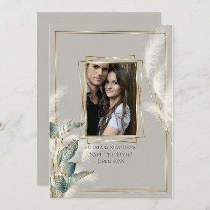 Chic Pampas Grass Photo Save the Date Invitation