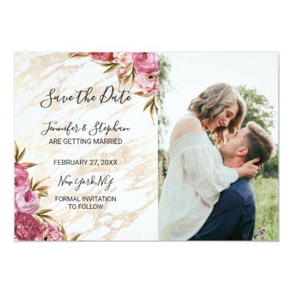 Chic Pink Floral Gold Marble s Cards