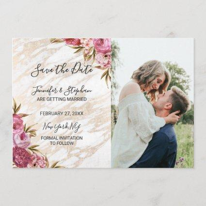 Chic Pink Floral Gold Marble Save the Dates Save The Date