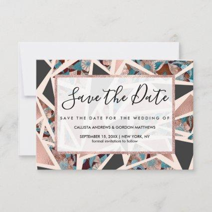 Chic Rose Gold Copper Teal Black Floral Geometric Save The Date