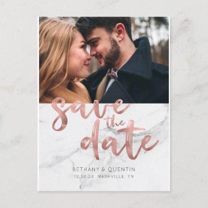Chic Rose Gold Foil Script Marble Save the Date Announcement