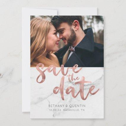 Chic Rose Gold Foil Script on Marble Photo Save The Date