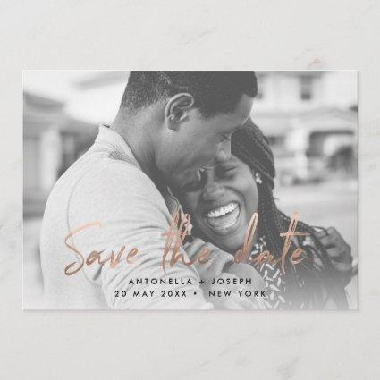 Chic Rose Gold Handwritten Save the Date Photo