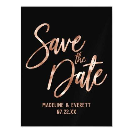Chic Rose Gold Modern Typography Save the Date Magnetic Invitation