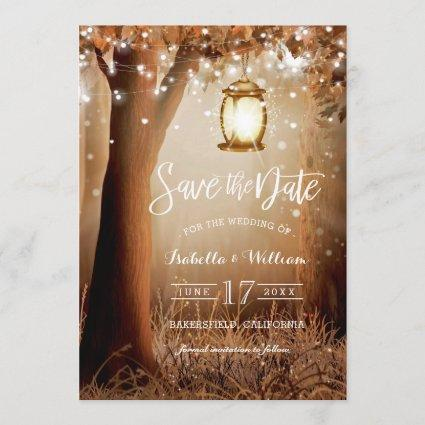 Chic Rustic Country String Lights Save the Date