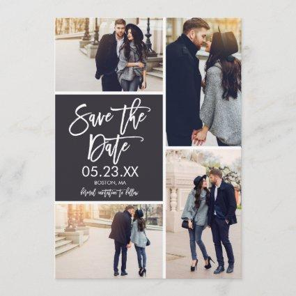 Chic Save The Date 4-Photo Collage Card