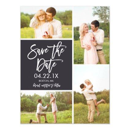 Chic Save The Date 4-Photo Collage Magnets