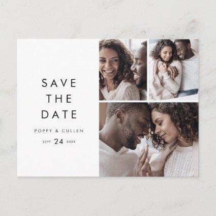Chic Typography 3 Photo Collage Save the Date Invitation