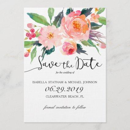Chic Watercolor Floral Save the Date
