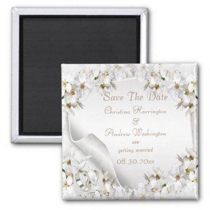 Chic White Dove Paisley Lace Save The Date Magnets