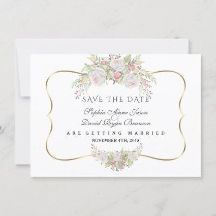 Chic White Pink Roses Navy Blue Gold Wedding Save The Date